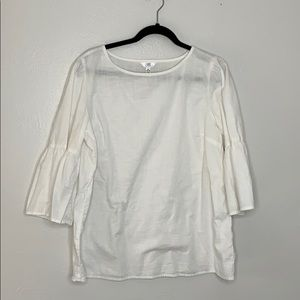 White flare bell sleeve high neck blouse XL 16-18